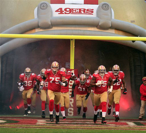 "<div class=""meta ""><span class=""caption-text "">Members of the San Francisco 49ers team are introduced before the NFC Championship NFL football game against the New York Giants Sunday, Jan. 22, 2012, in San Francisco. (AP Photo/Marcio Jose Sanchez) (AP Photo/ Marcio Jose Sanchez)</span></div>"