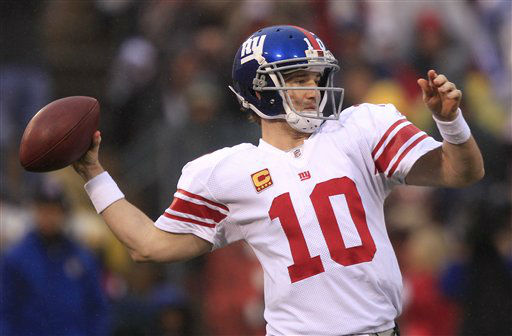 "<div class=""meta ""><span class=""caption-text "">New York Giants quarterback Eli Manning throws during the first half of the NFC Championship NFL football game against the San Francisco 49ers Sunday, Jan. 22, 2012, in San Francisco. (AP Photo/Marcio Jose Sanchez) (AP Photo/ Marcio Jose Sanchez)</span></div>"