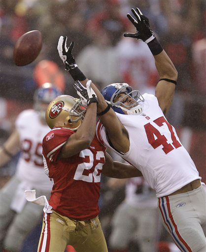 "<div class=""meta ""><span class=""caption-text "">San Francisco 49ers' Carlos Rogers (22) breaks up a pass intended for New York Giants' Travis Beckum (47) during the first half of the NFC Championship NFL football game Sunday, Jan. 22, 2012, in San Francisco. (AP Photo/David J. Phillip) (AP Photo/ David J. Phillip)</span></div>"