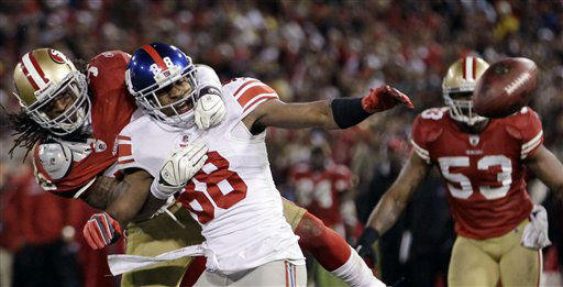 "<div class=""meta ""><span class=""caption-text "">San Francisco 49ers' Dashon Goldson breaks up a pass intended for New York Giants' Hakeem Nicks (88) during the second half of the NFC Championship NFL football game Sunday, Jan. 22, 2012, in San Francisco. (AP Photo/Paul Sakuma) (AP Photo/ Paul Sakuma)</span></div>"