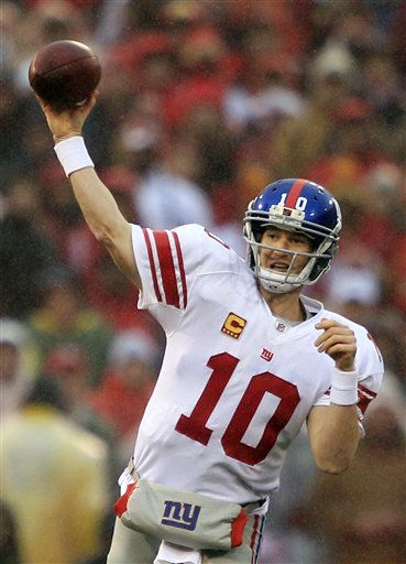 New York Giants quarterback Eli Manning &#40;10&#41; throws the ball during the first half of the NFC Championship NFL football game Sunday, Jan. 22, 2012, in San Francisco. &#40;AP Photo&#47;Marcio Jose Sanchez&#41; <span class=meta>(AP Photo&#47; Marcio Jose Sanchez)</span>