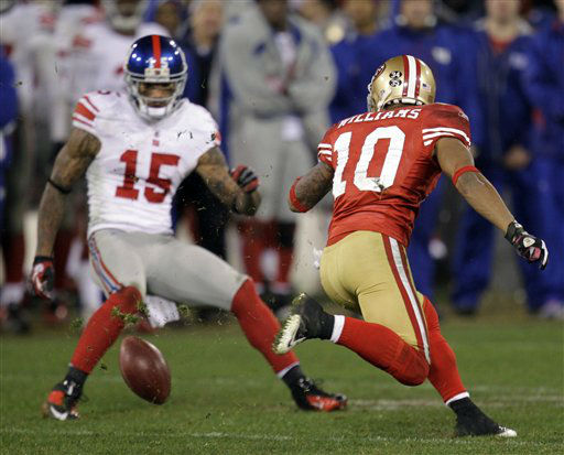 San Francisco 49ers&#39; Kyle Williams &#40;10&#41; fumbles a punt as New York Giants&#39; Devin Thomas &#40;15&#41; recovers during overtime of the NFC Championship NFL football game Sunday, Jan. 22, 2012, in San Francisco. &#40;AP Photo&#47;Julie Jacobson&#41; <span class=meta>(AP Photo&#47; Julie Jacobson)</span>