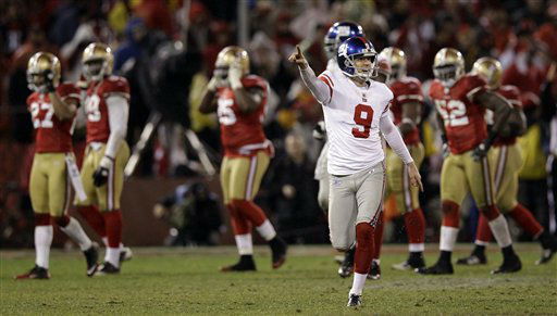 New York Giants&#39; Lawrence Tynes reacts after kicking the game-winning field goal during overtime of the NFC Championship NFL football game against the San Francisco 49ers Sunday, Jan. 22, 2012, in San Francisco. The Giants won 20-17 to advance to Super Bowl XLVI. &#40;AP Photo&#47;David J. Phillip&#41; <span class=meta>(AP Photo&#47; David J. Phillip)</span>