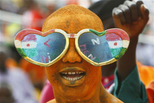 A Niger fan reacts during their African Cup of Nations Group C soccer match Gabon against Niger at Stade De L&#39;Amitie in Libreville, Gabon, Monday, Jan. 23, 2012. &#40;AP Photo&#47;Francois Mori&#41; <span class=meta>(AP Photo&#47; Francois Mori)</span>