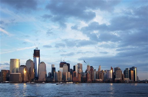 "<div class=""meta ""><span class=""caption-text "">One World Trade Center, now up to 90 floors, rises above the lower Manhattan skyline and the Hudson River, Tuesday, Jan. 24, 2012 in New York. The tower is scheduled to be completed in 2013. (AP Photo/Mark Lennihan) (AP Photo/ Mark Lennihan)</span></div>"