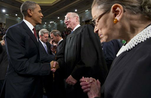 FILE - In this Jan. 24, 2012, file photo President Barack Obama greets Supreme Court Justice Anthony Kennedy and Ruth Bader Ginsburg, right, prior to his State of the Union address in front of a joint session of Congress at the Capitol in Washington. The monumental fight over a health care law that touches all Americans and divides them sharply comes before the Supreme Court Monday, March 26, 2012.  &#40;AP Photo&#47;Saul Loeb, Pool, File&#41; <span class=meta>(AP Photo&#47; SAUL LOEB)</span>