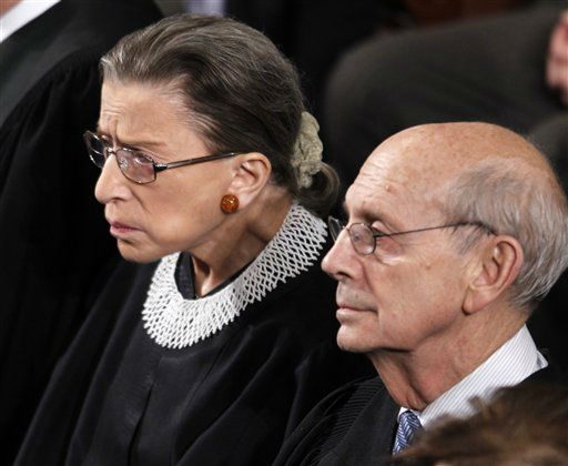"<div class=""meta ""><span class=""caption-text "">FILE - In this Jan. 24, 2012, file photo Supreme Court Justices Ruth Bader Ginsburg and Stephen Breyer listen to President Barack Obama deliver his State of the Union address to a joint session of Congress at the Capitol in Washington. The monumental fight over a health care law that touches all Americans and divides them sharply comes before the Supreme Court Monday, March 26, 2012. The Patient Protection and Affordable Care Act, Obama's signature domestic achievement, is derisively labeled ""Obamacare"" by its opponents. (AP Photo/Evan Vucci, File) (AP Photo/ Evan Vucci)</span></div>"