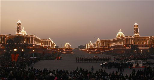 "<div class=""meta ""><span class=""caption-text "">Presidential bodyguards stand in formation at Vijay Chowk, flanked by the north and south block that house several Indian ministries at the end of Beating Retreat ceremony in New Delhi, India, Sunday, Jan. 29, 2012. The ceremony marks the end of Republic Day festivities. (AP Photo/Saurabh Das) (AP Photo/ Saurabh Das)</span></div>"