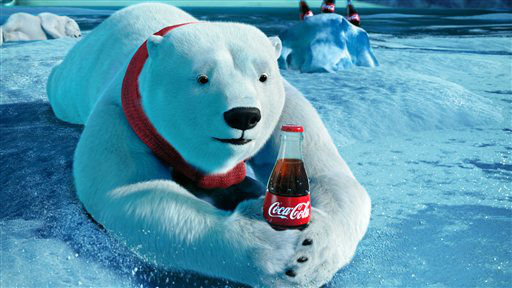 This video still provided by the Coca-Cola Co. and Wieden &#43; Kennedy, shows the polar bears advertisement the &#34;Catch,&#34; that will be aired during Super Bowl XLVI, Sunday, Feb. 5, 2012. &#40;AP Photo&#47;Coca-Cola Co.&#41; <span class=meta>(AP Photo&#47; Anonymous)</span>