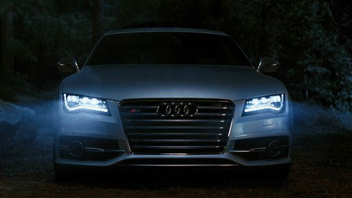 This advertisement provided by Audi of America, shows a scene from the &#34;Vampire,&#34; ad featuring brighter LED headlamps. The ad will be aired during Super Bowl XLVI, Sunday, Feb. 5, 2012. &#40;AP Photo&#47;Audi of America&#41; <span class=meta>(AP Photo&#47; Anonymous)</span>