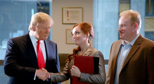 "<div class=""meta image-caption""><div class=""origin-logo origin-image ""><span></span></div><span class=""caption-text"">This advertisement provided by Century 21, shows a scene from the ad ""Smarter, Bolder, Faster,"" with a Century 21 saleswoman and real estate tycoon Donald Trump, left. The ad will air during Super Bowl XLVI, Sunday, Feb. 5, 2012. (AP Photo/Century 21) (AP Photo/ Anonymous)</span></div>"