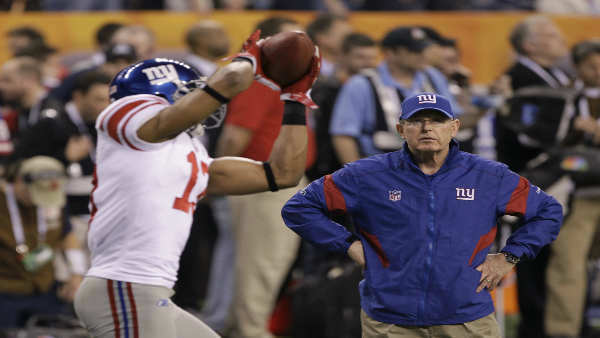 New York Giants head coach Tom Coughlin watches as Giants wide receiver Ramses Barden catches a pass during the first half of NFL Super Bowl XLVI football game Sunday, Feb. 5, 2012, in Indianapolis. &#40;AP Photo&#47;David Duprey&#41; <span class=meta>(Photo&#47;David Duprey)</span>