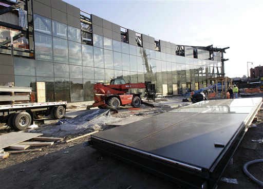 Construction continues on the Barclays Center sports and entertainment complex, which will be home to the Brooklyn Nets basketball team, in downtown Brooklyn in New York, Wednesday, Feb. 1, 2012.  This view shows the front of the building. &#40;AP Photo&#47;Kathy Willens&#41; <span class=meta>(AP Photo&#47; Kathy Willens)</span>