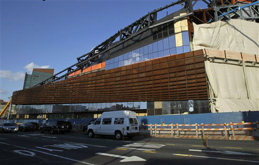 Construction continues on the Barclays Center sports and entertainment complex, which will be home to the Brooklyn Nets basketball team when it opens in September, in downtown Brooklyn in New York, Wednesday, Feb. 1, 2012.  It will be the first time since the Brooklyn Dodgers left in 1957 the borough will have a sports team of its own. &#40;AP Photo&#47;Kathy Willens&#41; <span class=meta>(AP Photo&#47; Kathy Willens)</span>
