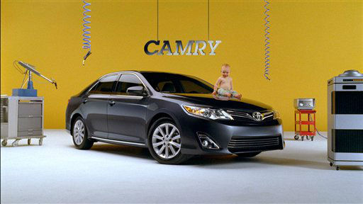 This advertisement provided by Toyota of North America, shows a toddler sitting on the hood of a Toyota Camry. The ad will be aired during Super Bowl XLVI, Sunday, Feb. 5, 2012. &#40;AP Photo&#47;Toyota of Ameriva&#41; <span class=meta>(AP Photo&#47; Anonymous)</span>