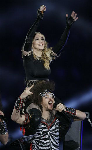 "<div class=""meta image-caption""><div class=""origin-logo origin-image ""><span></span></div><span class=""caption-text"">Madonna, top, performs with Redfoo, lead singer of LMFAO, during halftime of the NFL Super Bowl XLVI football game between the New York Giants and the New England Patriots, Sunday, Feb. 5, 2012, in Indianapolis. (AP Photo/Mark Humphrey) (AP Photo/ Mark Humphrey)</span></div>"