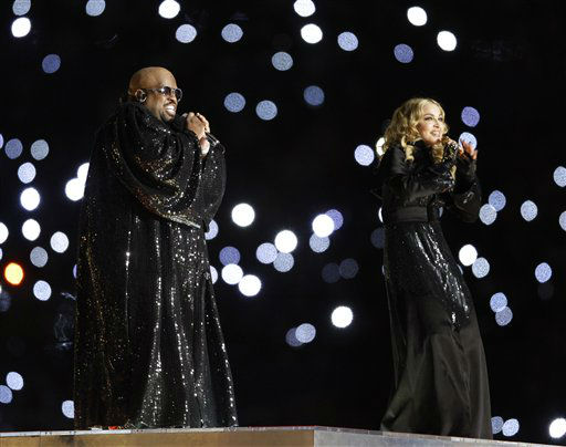 "<div class=""meta image-caption""><div class=""origin-logo origin-image ""><span></span></div><span class=""caption-text"">Madonna, right, and Cee Lo perform during halftime of the NFL Super Bowl XLVI football game between the New York Giants and the New England Patriots, Sunday, Feb. 5, 2012, in Indianapolis. (AP Photo/Matt Slocum) (AP Photo/ Matt Slocum)</span></div>"