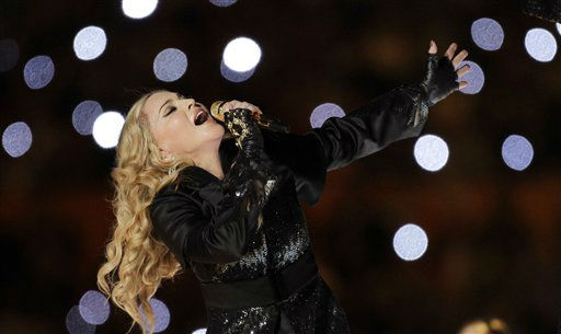"<div class=""meta image-caption""><div class=""origin-logo origin-image ""><span></span></div><span class=""caption-text"">Madonna performs during halftime of the NFL Super Bowl XLVI football game between the New York Giants and the New England Patriots, Sunday, Feb. 5, 2012, in Indianapolis. (AP Photo/Chris O'Meara) (AP Photo/ Chris O'Meara)</span></div>"