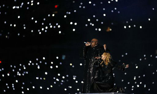 "<div class=""meta image-caption""><div class=""origin-logo origin-image ""><span></span></div><span class=""caption-text"">Madonna and Cee Lo Green perform during halftime of the NFL Super Bowl XLVI football game between the New York Giants and the New England Patriots, Sunday, Feb. 5, 2012, in Indianapolis. (AP Photo/Paul Sancya) (AP Photo/ Paul Sancya)</span></div>"