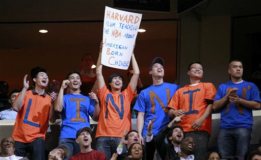 Fans cheer for New York Knicks point guard Jeremy Lin during the second half of an NBA basketball game against the Washington Wizards, Wednesday, Feb. 8, 2012, in Washington. The Knicks won 107-93. &#40;AP Photo&#47;Haraz N. Ghanbari&#41; <span class=meta>(AP Photo&#47; Haraz N. Ghanbari)</span>
