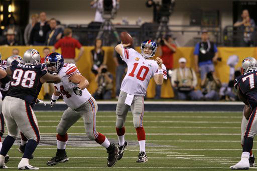 New York Giants QB Eli Manning #10 is seen in action against the New England Patriots at Super Bowl XLVI on Sunday, February 5, 2012 in Indianapolis, IN.  The Giants defeated the Patriots 21-17.  &#40;AP Photo&#47;Gregory Payan&#41; <span class=meta>(Photo&#47;Gregory Payan)</span>