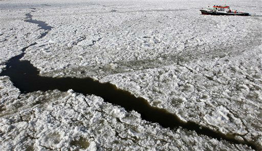 A boat makes its way through floating ice on the river Elbe in Hamburg, northern Germany, on Thursday, Feb. 9, 2012. A cold spell has reached Europe with temperatures plummeting far below zero. &#40;AP Photo&#47;Matthias Schrader&#41; <span class=meta>(AP Photo&#47; Matthias Schrader)</span>