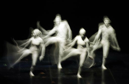 Dancers perform during the 62nd edition of the Sanremo Song Festival, in Sanremo, Italy, Wednesday, Feb. 15, 2012. &#40;AP Photo&#47;Luca Bruno&#41; <span class=meta>(AP Photo&#47; Luca Bruno)</span>