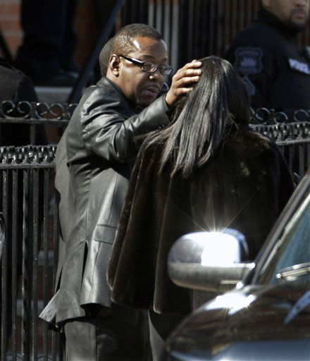 Singer Bobby Brown is seen outside as the funeral of his ex-wife Whitney Houston was taking place at New Hope Baptist Church in Newark, N.J., Saturday, Feb. 18, 2012.  Houston died last Saturday at the Beverly Hills Hilton in Beverly Hills, Calif., at the age 48. &#40;AP Photo&#47;Mel Evans&#41; <span class=meta>(AP Photo&#47; Mel Evans)</span>
