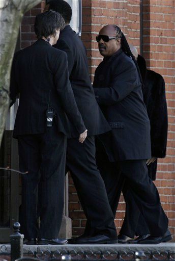 Stevie Wonder arrives the funeral Whitney Houston at New Hope Baptist Church in Newark, N.J., Saturday, Feb. 18, 2012.  Houston died last Saturday at the Beverly Hills Hilton in Beverly Hills, Calif., at the age 48.&#40;AP Photo&#47;Mel Evans&#41; <span class=meta>(AP Photo&#47; Mel Evans)</span>