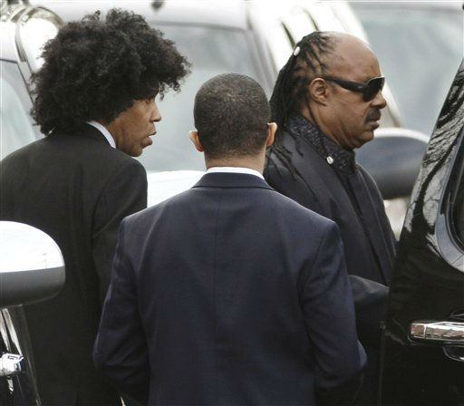 Singer Stevie Wonder, right, leaves the funeral service for Whitney Houston at New Hope Baptist Church in Newark, N.J.,  Saturday, Feb. 18, 2012. Houston died last Saturday at the Beverly Hills Hilton in Beverly Hills, Calif., at the age 48. &#40;AP Photo&#47;Mel Evans&#41; <span class=meta>(AP Photo&#47; Mel Evans)</span>