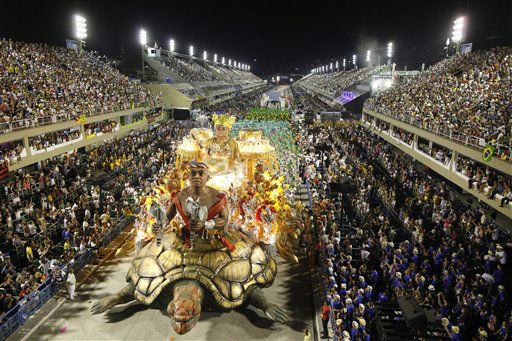 The Imperatriz Leopoldinense samba school parades during carnival celebrations at the Sambadrome in Rio de Janeiro, Brazil, early Monday Feb. 20, 2012. &#40;AP Photo&#47;Felipe Dana&#41; <span class=meta>(AP Photo&#47; Felipe Dana)</span>