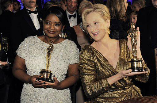 Octavia Spencer with the Oscar for best actress in a supporting role for &#34;The Help&#34;, left, and Meryl Streep with the Oscar for best actress in a leading role for &#34;The Iron Lady&#34; pose at the Governors Ball following the 84th Academy Awards on Sunday, Feb. 26, 2012, in the Hollywood section of Los Angeles. &#40;AP Photo&#47;Chris Pizzello&#41; <span class=meta>(AP Photo&#47; Chris Pizzello)</span>