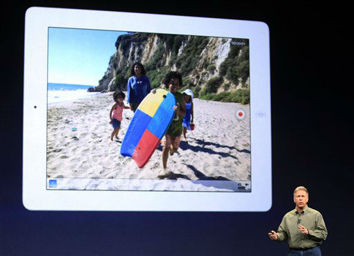 "<div class=""meta image-caption""><div class=""origin-logo origin-image ""><span></span></div><span class=""caption-text"">Apple's senior vice president of Worldwide Marketing Phil Schiller talks about the new iPad during an event in San Francisco, Wednesday, March 7, 2012.  The new iPad features a sharper screen and a faster processor.  Apple says the new display will be even sharper than the high-definition television set in the living room. (AP Photo/Jeff Chiu) (AP Photo/ Jeff Chiu)</span></div>"
