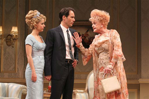 In this undated theater publicity image released by Jeffrey Richards Associates, Eric McCormack, center, Kerry Butler, left, and Angela Lansbury are shown in a scene from Gore Vidal&#39;s &#34;The Best Man,&#34; in New York. &#40;AP Photo&#47;Jeffrey Richards Associates, Joan Marcus&#41; <span class=meta>(AP Photo&#47; Joan Marcus)</span>