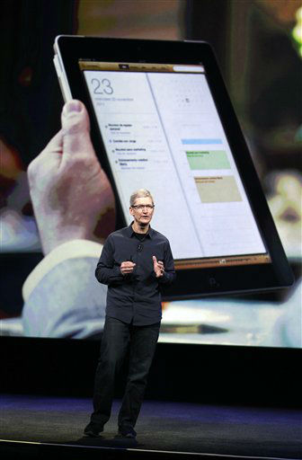 Apple CEO Tim Cook speaks during an event in front of a screen showing the iPad 2 in San Francisco, Wednesday, March 7, 2012. Apple is expected to reveal a new iPad model at Wednesday?s event in San Francisco.  &#40;AP Photo&#47;Paul Sakuma&#41; <span class=meta>(AP Photo&#47; Paul Sakuma)</span>