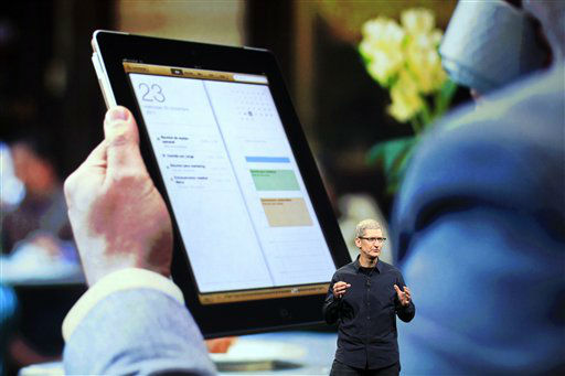 Apple CEO Tim Cook speaks during an event in San Francisco, Wednesday, March 7, 2012. Apple is expected to reveal a new iPad model at Wednesday?s event in San Francisco.  &#40;AP Photo&#47;Jeff Chiu&#41; <span class=meta>(AP Photo&#47; Jeff Chiu)</span>