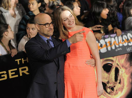 "<div class=""meta image-caption""><div class=""origin-logo origin-image ""><span></span></div><span class=""caption-text"">Stanley Tucci, left, and Felicity Blunt arrive at the world premiere of ""The Hunger Games"" on Monday March 12, 2012 in Los Angeles. (AP Photo/Chris Pizzello) (AP Photo/ Chris Pizzello)</span></div>"
