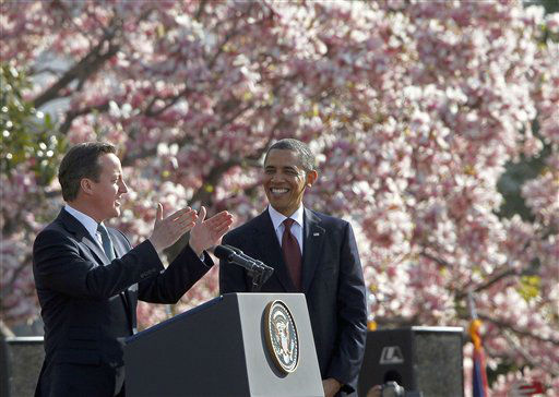 President Barack Obama listens as British Prime Minister David Cameron speaks during an arrival ceremony on the South Lawn of the White House in Washington Wednesday, March 14, 2012. &#40;AP Photo&#47;Pablo Martinez Monsivais&#41; <span class=meta>(AP Photo&#47; Pablo Martinez Monsivais)</span>