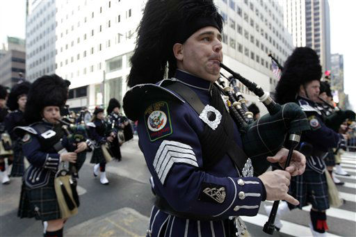 "<div class=""meta ""><span class=""caption-text "">Tim Fleming of the Ancient Order of Hibernians of Orange County, plays the bagpipe as he marches up 5th Ave. during the 251st annual St. Patrick's Day Parade,  Saturday, March 17, 2012 in New York.  (AP Photo/Mary Altaffer) (AP Photo/ Mary Altaffer)</span></div>"