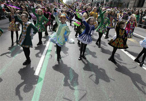 "<div class=""meta ""><span class=""caption-text "">Irish dancers make their way up 5th Ave. during the 251st annual St. Patrick's Day Parade,  Saturday, March 17, 2012 in New York.  (AP Photo/Mary Altaffer) (AP Photo/ Mary Altaffer)</span></div>"