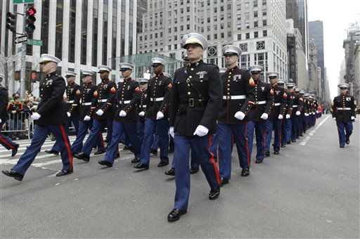 "<div class=""meta ""><span class=""caption-text "">Members of the Marines march up 5th Ave. during the 251st annual St. Patrick's Day Parade,  Saturday, March 17, 2012 in New York.  (AP Photo/Mary Altaffer) (AP Photo/ Mary Altaffer)</span></div>"