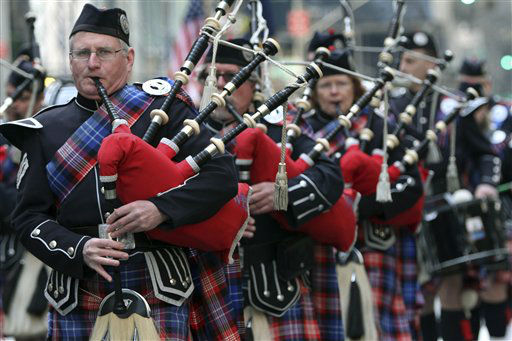"<div class=""meta ""><span class=""caption-text "">Bagpipers march up 5th Ave. during the 251st annual St. Patrick's Day Parade,  Saturday, March 17, 2012 in New York.  (AP Photo/Mary Altaffer) (AP Photo/ Mary Altaffer)</span></div>"