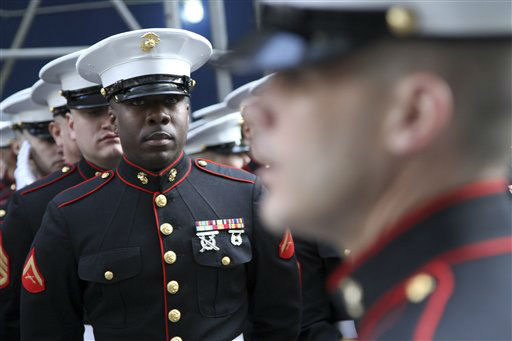 "<div class=""meta ""><span class=""caption-text "">Members of the Marines stand at attention before marching up 5th Ave. during the 251st annual St. Patrick's Day Parade,  Saturday, March 17, 2012 in New York.  (AP Photo/Mary Altaffer) (AP Photo/ Mary Altaffer)</span></div>"