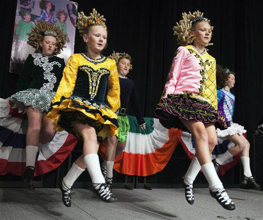 Dancers from the Woods School of Irish Dance in Boston perform during the annual St. Patrick&#39;s Breakfast in Boston, Sunday, March 18, 2012. &#40;AP Photo&#47;Michael Dwyer&#41; <span class=meta>(AP Photo&#47; Michael Dwyer)</span>