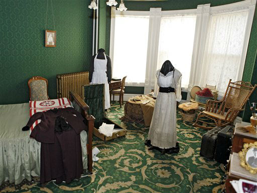 This March 19, 2012 photo shows Molly&#39;s bedroom in the Molly Brown House Museum in Denver. A few blocks from Colorado&#39;s state Capitol _ over 1700 miles from the Atlantic Ocean and a mile above sea level _ is a museum dedicated to a woman eclipsed by legend following the sinking of the Titantic. The &#34;unsinkable Molly Brown&#34; moved into this stone Victorian home after she and her husband struck it rich at a gold mine in Colorado&#39;s mountains, nearly 20 years before she boarded the Titanic because it was the first boat she could get back home to visit her ailing grandson. &#40;AP Photo&#47;Ed Andrieski&#41; <span class=meta>(AP Photo&#47; Ed Andrieski)</span>