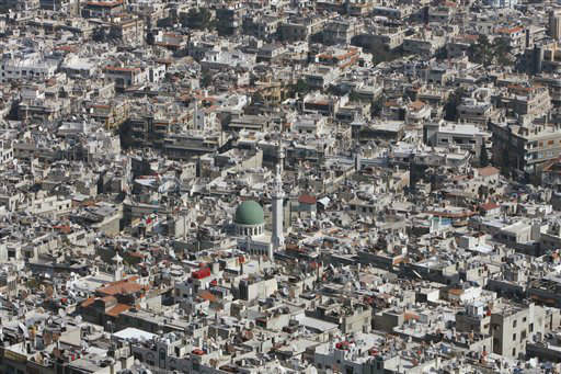 "<div class=""meta ""><span class=""caption-text "">A general view of Damascus, Syria, Thursday, March 22, 2012. Mounting international condemnation of Bashar Assad's regime and high-level diplomacy have failed to ease the year-old Syria conflict, which the U.N. says has killed more than 8,000 people. (AP Photo/Muzaffar Salman) (AP Photo/ Muzaffar Salman)</span></div>"