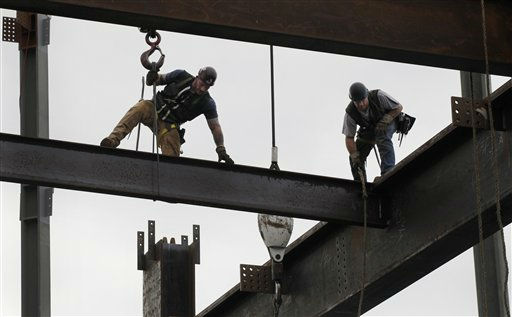 "<div class=""meta ""><span class=""caption-text "">Ironworkers connect steel beams above the 93rd floor of One World Trade Center, Friday, March 23, 2012 in New York, The tower, formerly known as the Freedom Tower, will reach 104 floors and is scheduled for completion in 2013. (AP Photo/Mark Lennihan) (AP Photo/ Mark Lennihan)</span></div>"