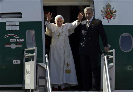 Pope Benedict XVI waves as he arrives at the airport in Silao, Mexico, Friday, March 23, 2012. Benedict&#39;s weeklong trip to Mexico and Cuba is his first to both countries. &#40;AP Photo&#47;Dario Lopez-Mills&#41; <span class=meta>(AP Photo&#47; Dario Lopez-Mills)</span>