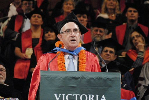 In this December, 2010 photo supplied Saturday, March. 24, 2012 by Victoria University in Wellington, New Zealand, New Zealand&#39;s Paul Callaghan delivers a speech during an awarding ceremony of Honorary Doctorate Degree. Sir Paul Callaghan, a top New Zealand scientist who gained international recognition for his work in molecular physics, has died after a long battle with bowel cancer. He was 64. &#40;AP Photo&#47;Victoria University&#41; NEW ZEALAND OUT AUSTRALIA OUT EDITORIAL USE ONLY <span class=meta>(AP Photo&#47; Anonymous)</span>