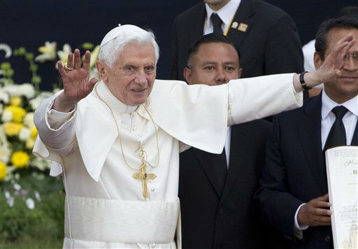 "<div class=""meta image-caption""><div class=""origin-logo origin-image ""><span></span></div><span class=""caption-text"">Pope Benedict XVI  waves during the symbolic key ceremony of the city of Guanajuato, Mexico, Saturday March 24, 2012. Benedict arrived in Mexico Friday afternoon, a decade after the late Pope John Paul II's last visit. The pontiff's weeklong trip to Mexico and then to Cuba on Monday is his first to both countries. (AP Photo/Eduardo Verdugo) (AP Photo/ Eduardo Verdugo)</span></div>"